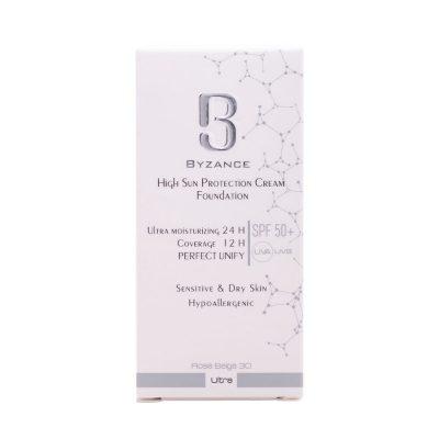 کرم ضدآفتاب بیزانس SPF50 پوست خشک شماره 30 رز بژ(فلوئید) 30 میلی لیتر