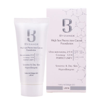 کرم ضدآفتاب بیزانس SPF50 پوست خشک شماره 20 بژ طبیعی(فلوئید)