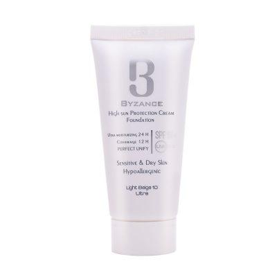 کرم ضد آفتاب بیزانس SPF50 پوست خشک شماره 10 بژ روشن(فلوئید)